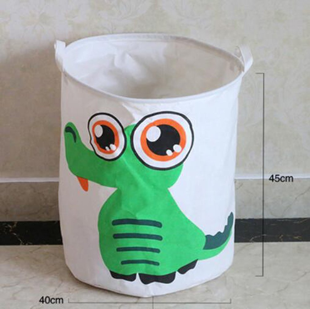 WEISHY Large Cotton & Linen Laundry Basket Storage Bag Folding Storage Box Finishing Baskets (crocodile)