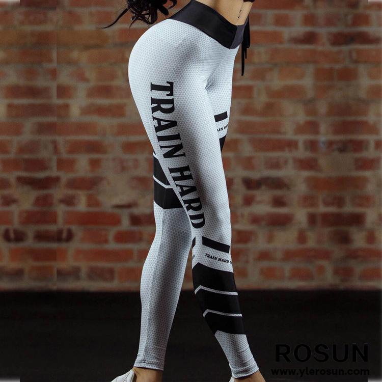 2018 frauen Sexy Schwarz Brief Drucken Workout Leggings Gym sportswear Hohe Taille Slim Fitness Yoga Hosen