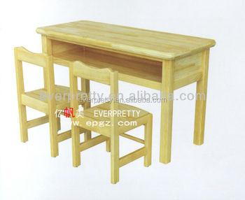 2 seats oak wood kids study table,wooden children school tables