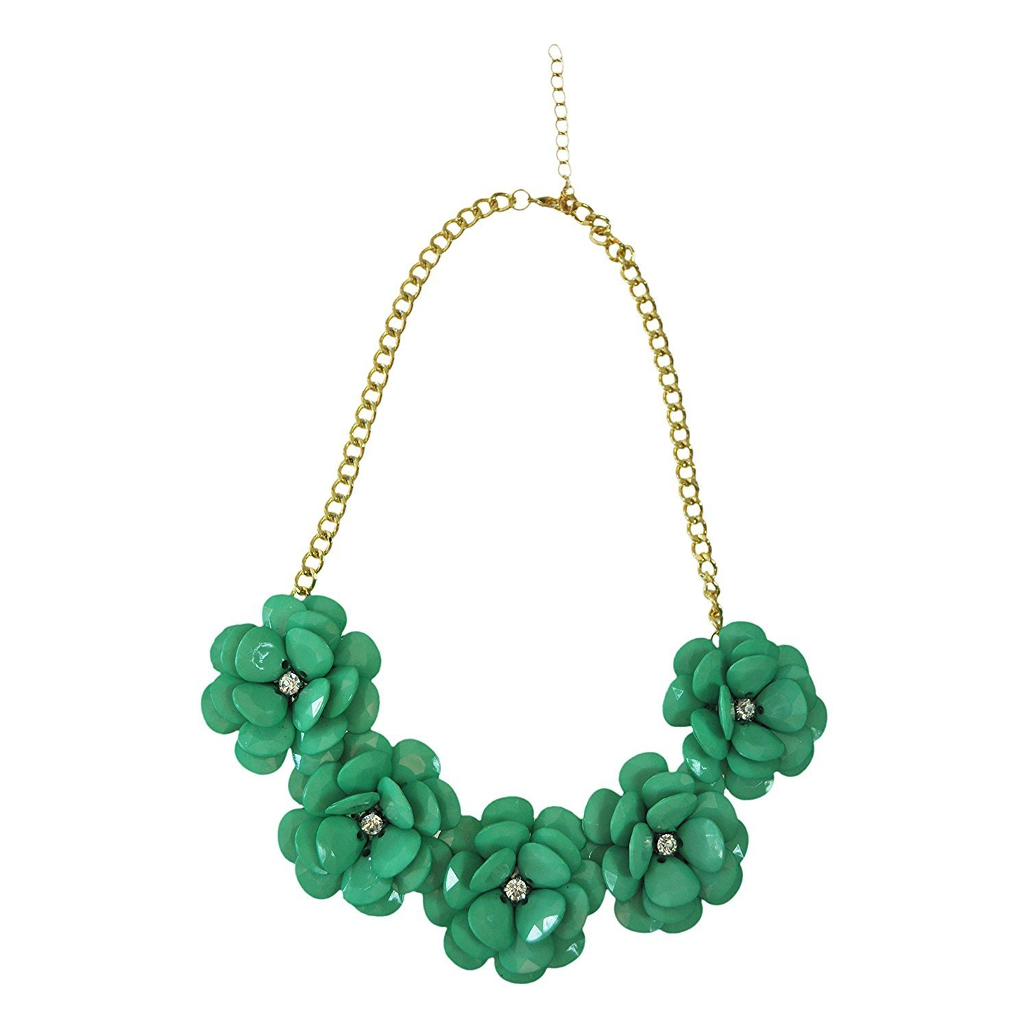 BUYEONLINE Most Fashion Jewelry Zinc Alloy With Acrylic Perfect Five Flower Necklace Necklaces & Pendants Light Green