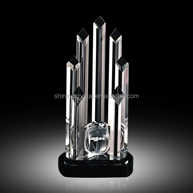 Large Column Shape Crystal Baseball Award Trophy