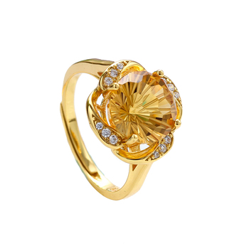 wholesale new fashion 925 sterling silver yellow gold plated flower 10mm citrine natural crystal ring women jewelry