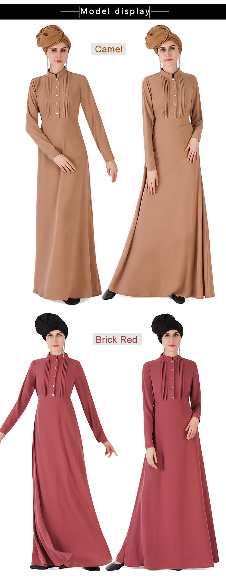 2019 Manufacturer directly supply Front pleat with button design turkish abaya dress with belt islamic clothing