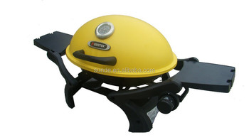 yellow round small gas portable barbecue grill with 2 folding tables - Small Gas Grills