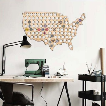 laser cut USA Map Wood Beer Cap usa Map