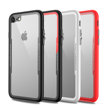 TPU Bumper Hybrid Tempered Glass Back Cover Phone Case For iPhone 7 8 4.7 INCH