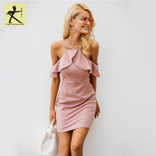 2018 strap cold shoulder ruffle dress women sexy backless split bodycon dress autumn elegant girls party dresses