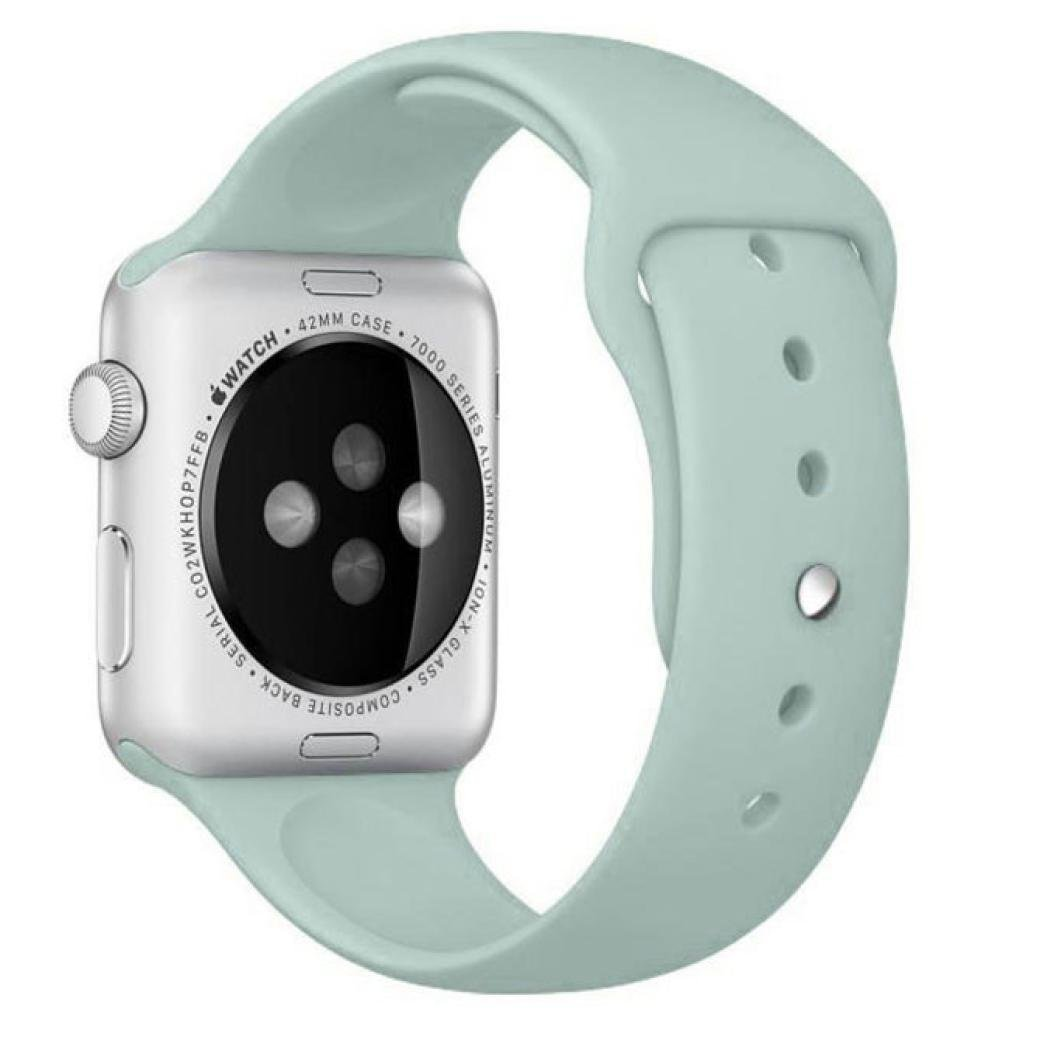 Owill Replacement Watch Band Strap for Apple Watch 42MM - Soft Silicone Sports Bracelet Strap Band For Apple Watch 42MM, Short Style More Fit to Women Wrist (Sky Blue)