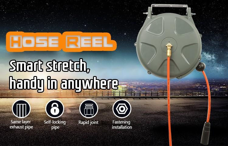 Automatic retractable medical oxygen hose reel