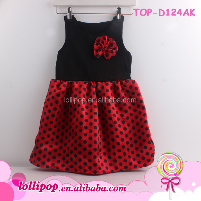 82a78cf4c 2016 Wholesale New Girl Fashion Black Polka Dots Cotton Dress Summer ...