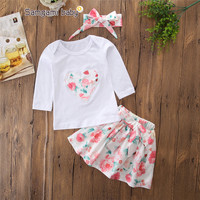 INS newest children autumn clothes sets cotton white top+hairband+floral skirt 3pcs kids girls clothing sets