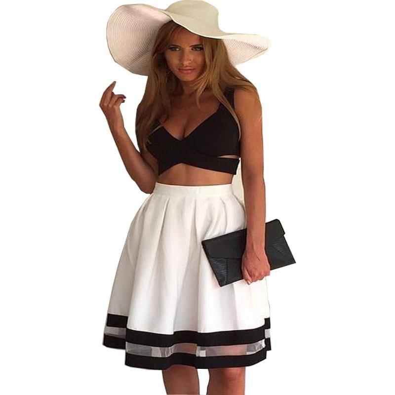 32fb3ab38e2c New 2015 Ladies Womens Sleeveless Sexy 2 Piece Set Bandage Bodycon Dress  Patchwork Women White Black Club Summer Dress Vestidos