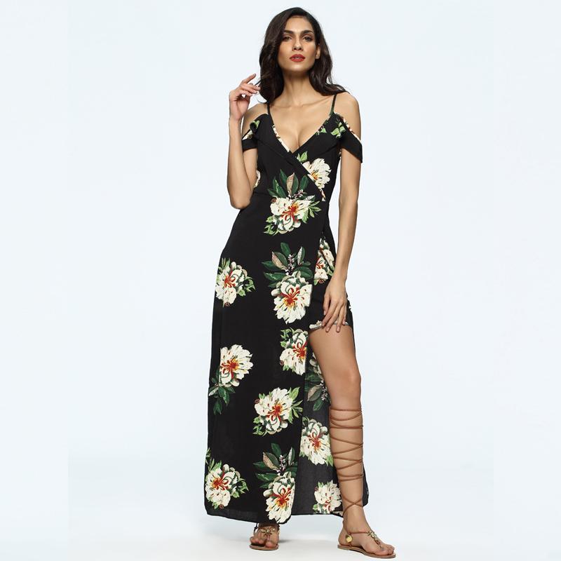 2017 Summer Women Plus Size Chiffon New Style Split Floral Print