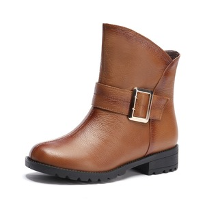 YX10T025 2017 Factory price bukle slip-on block heel ladies low cut boots leather riding boots