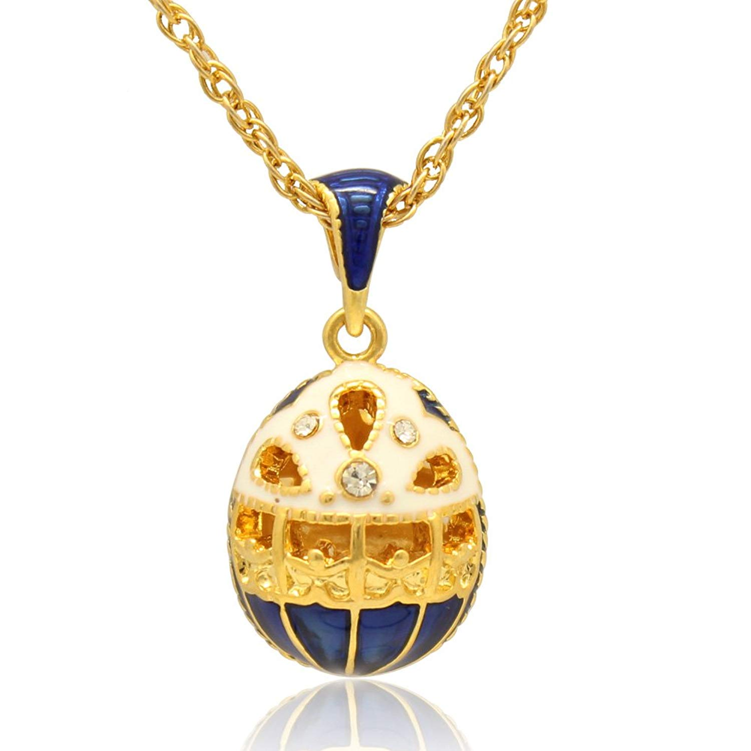 MYD Jewelry Enamel Hollow Design Easter Egg Faberge Egg Pendant Necklace