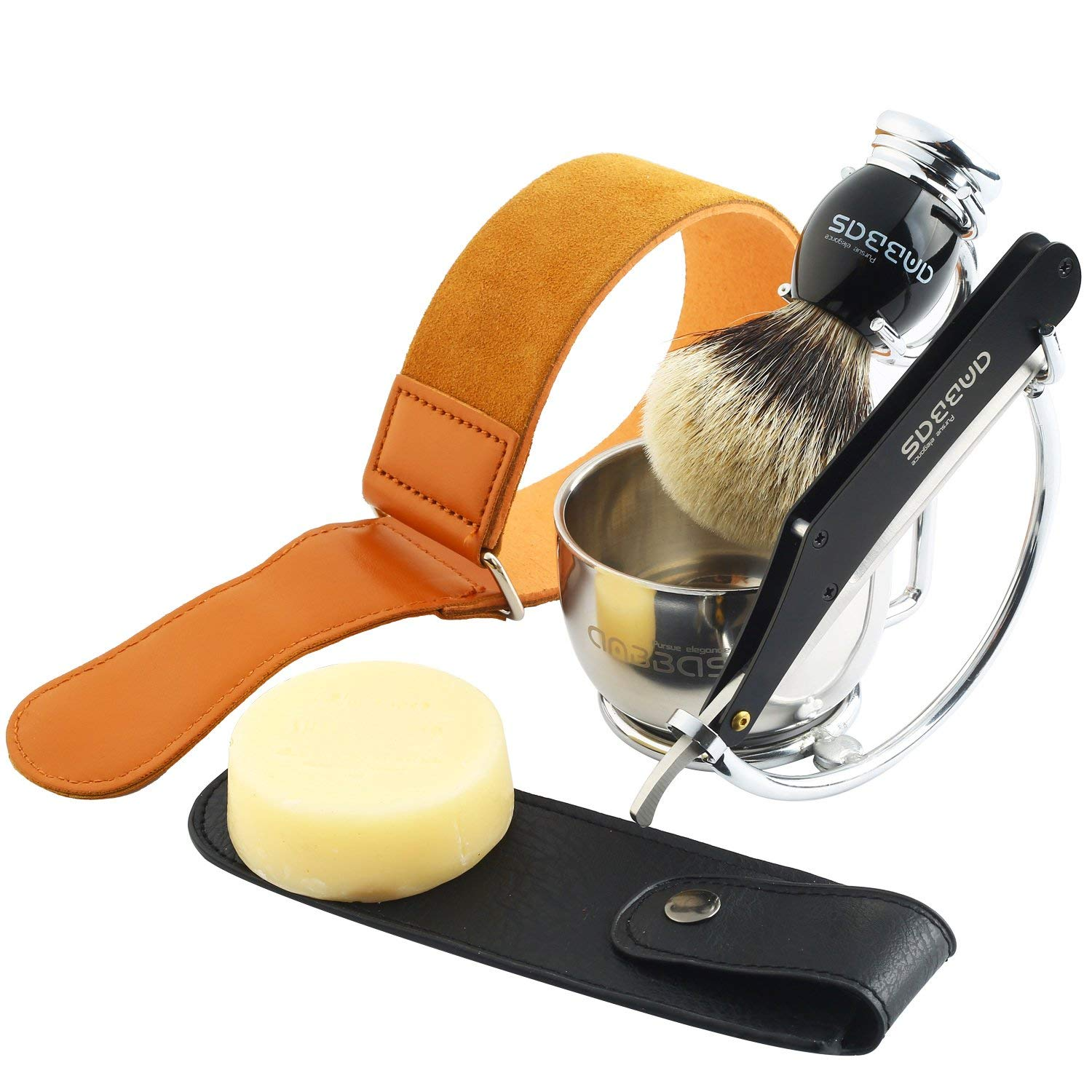 Shaving Set,7in1 Anbbas Silver tip Badger Shaving Brush,Natural Shaving Soap 100g,Stainless Steel Shaving Stand and Bowl,Straight Razor,Genuine Leather Razor Strop,Black Quality Razor Bag Kit
