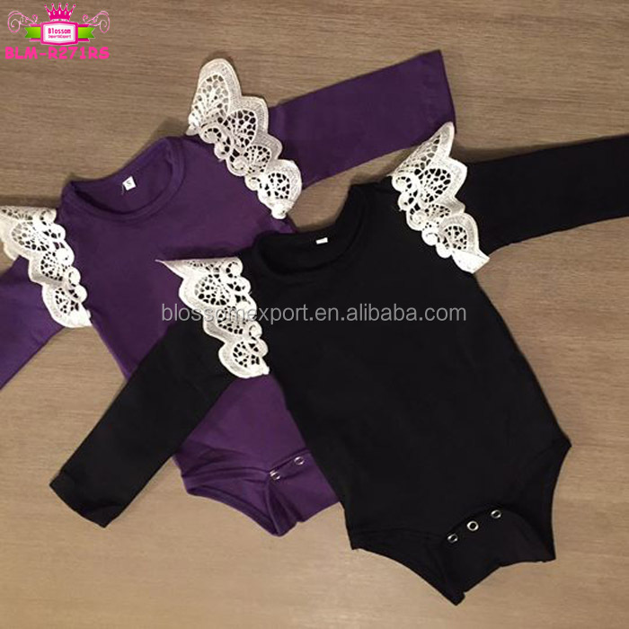 7d74243b5fa Flutter Sleeve Wholesale Blank Baby Clothes Short Sleeve Toddler Girls  Angel Wings White Lace Flutter Romper