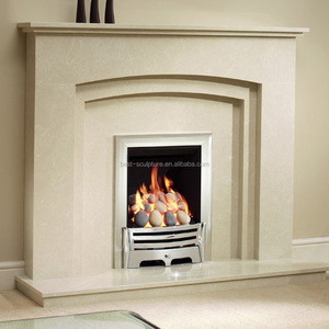natural white stone fireplace hearth with modern mantel design