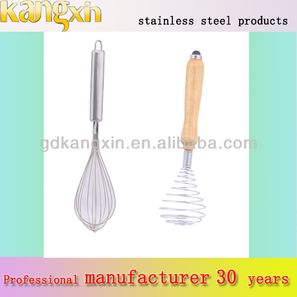Stainless steel wooden handle kitchen hand held egg mixing tool whisk