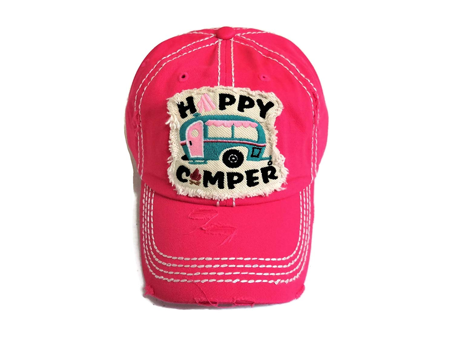 621b375bbc1 Get Quotations · Spirit Caps Embroidered Happy Camper Frayed Patch Washed  Fuchsia Baseball Cap