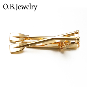 Oar Shape Tie Clips Pin Tie Bar for Mens 18K Gold Plated Mens Tie Clip