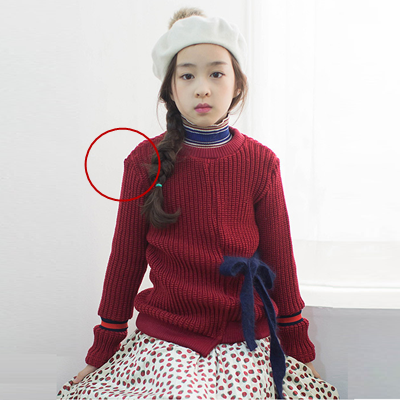 Direct Buy China Girl's Korean Style Two Colour Design Pullover Sweater With Bow Tie
