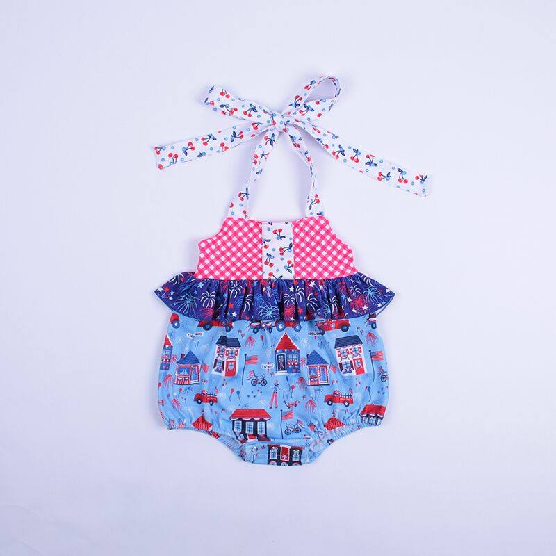 wholesale infant clothing ruffle lace petals flower print baby clothes romper with bow