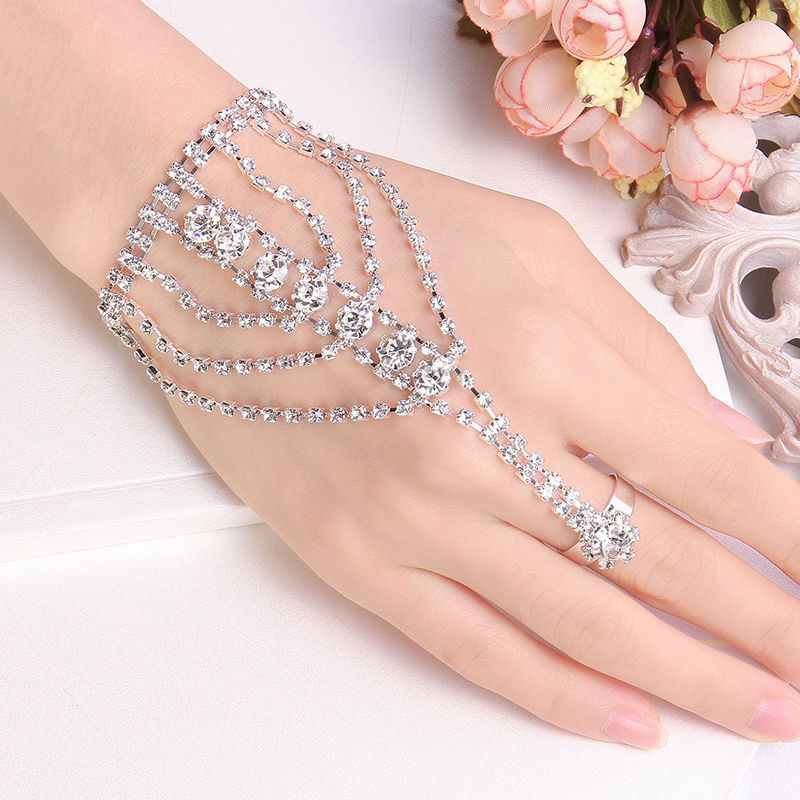fashion brillante gro e party frauen hand versilbert schmuck kristall armband mit ring armring. Black Bedroom Furniture Sets. Home Design Ideas