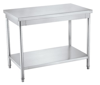 Commercial 2 Tier Stainless Steel Kitchen Working Table With Border ...