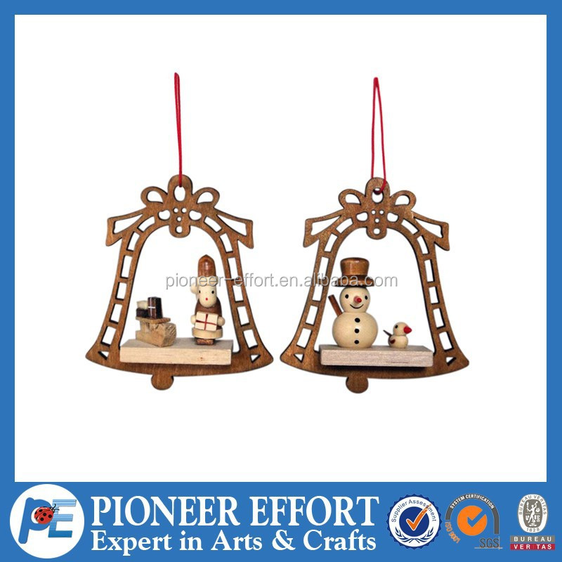 wooden bell shaped X'mas hanging decoration, indoor festival hanging ornament