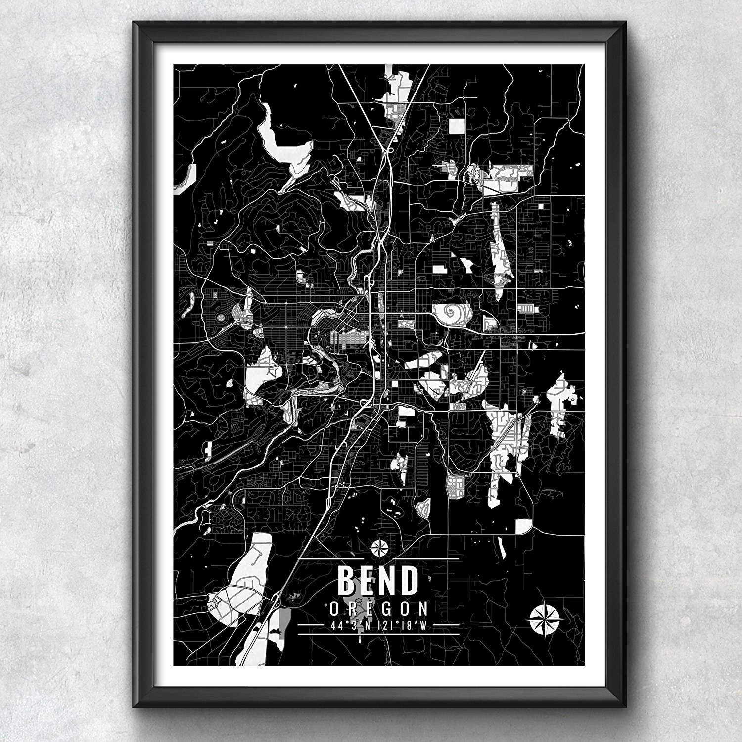 Bend Oregon Map with Coordinates, Bend Map Art, Bend Wall Art, Bend Map, Map Art, Map Print, Bend Print, Bend Art, Bend Gift, Map