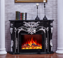 European Classic black electric fireplace with heater