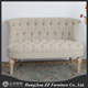 Classical vintage style oak wooden upholstery double seat leisure chair