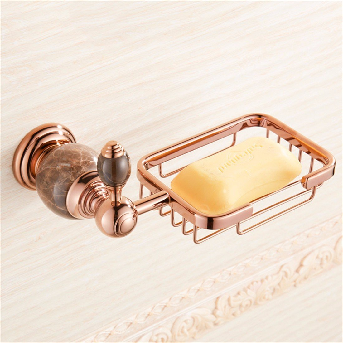 LAONA Continental antique rose gold black jade bathroom accessory kit towel bars toilet paper, Soap Basket