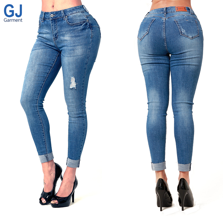 Manufacturer Stock Ladies Strech Calcas Femme Price Factory Guangzhou Mid High Waist Butt Lift Push Up Slim Fit Denim Jeans, Blue