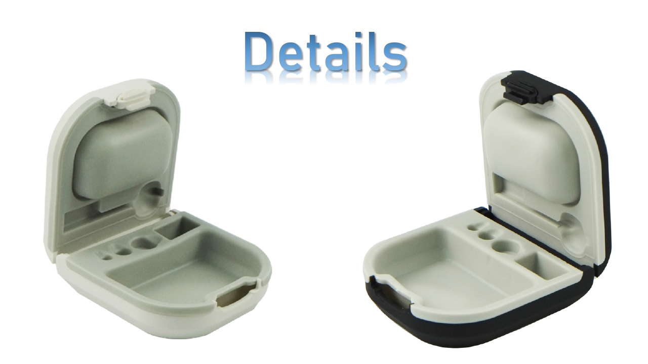 Hearing aid White Earphone Case with battery Container