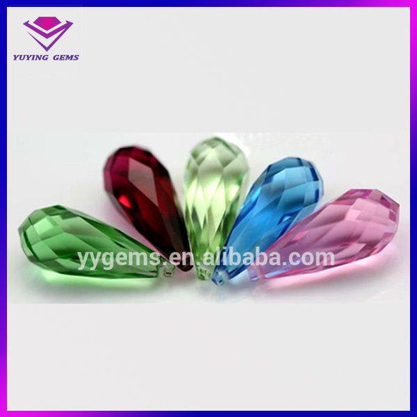 teardrop half drilled bead facet bead gems crystal glass stone wholesale
