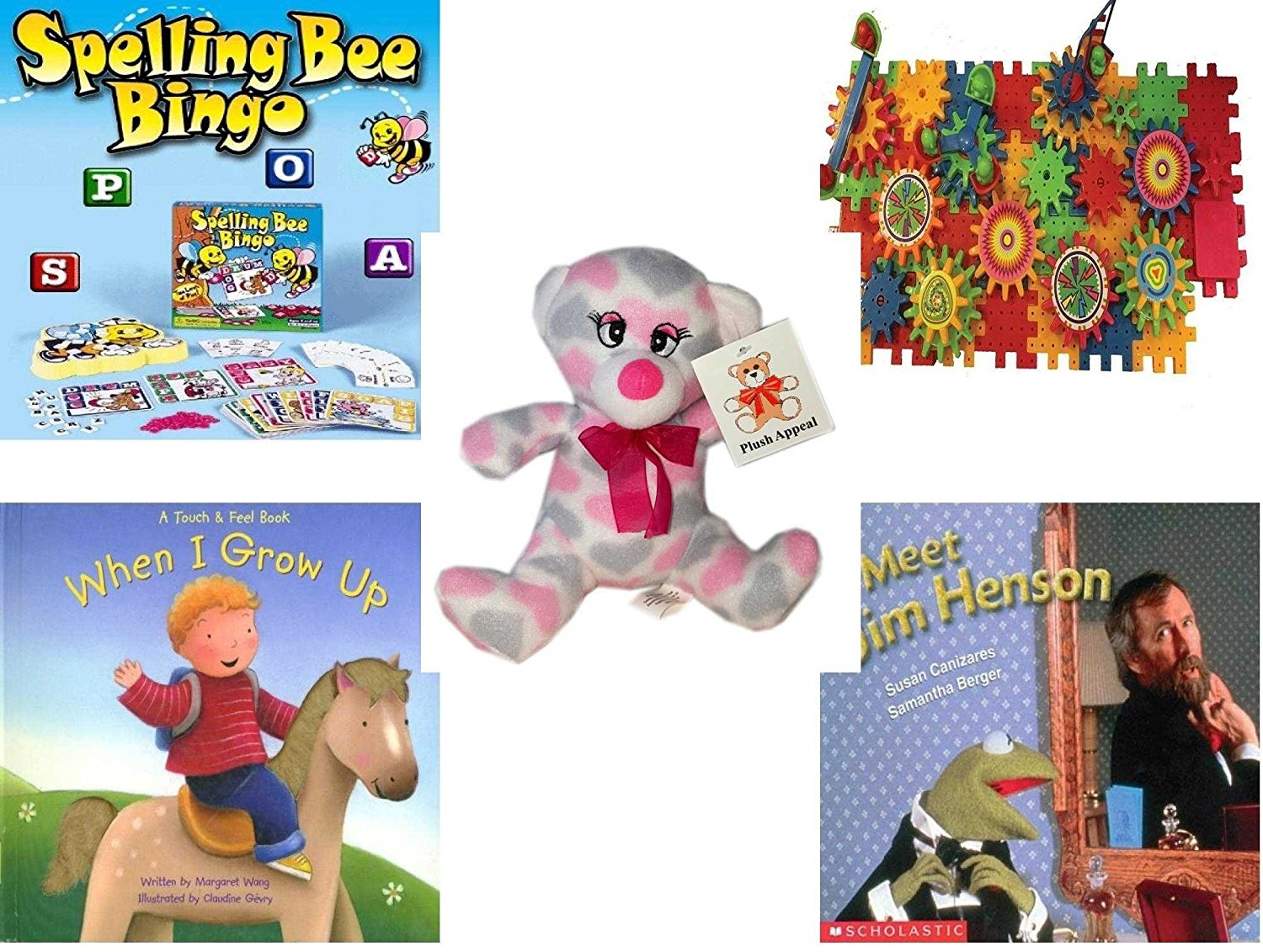 """Children's Gift Bundle - Ages 3-5 [5 Piece] - Spelling Bee Bingo Game - Play Sprockets Toy - Plush Appeal Pretty Pink and Purple Hearts Bear Plush 7"""" - When I Grow UpHardcover Book - Meet Jim Hens"""