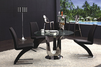 A8017r Gl Top Round Rotating Dining Table Clical Style