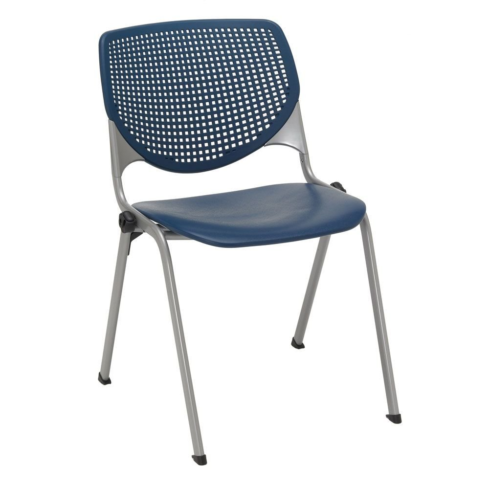 "Heavy Duty Poly Stack Chair - 400 lb Capacity Dimensions: 20.5""W x 21.25""D x 31.5""H Seat Dimensions: 18""Wx18""Dx17.5""H Weight: 15 lbs. Navy Poly Back & Seat/Silver Frame"