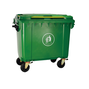 1100 / 660 Liter HDPE material factory brand garbage container with 4 wheels