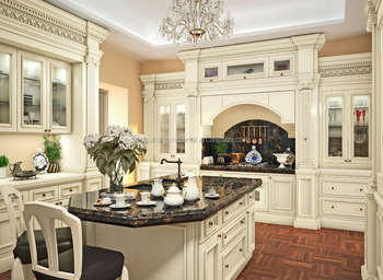 Classic style interior oak wood kitchen furniture