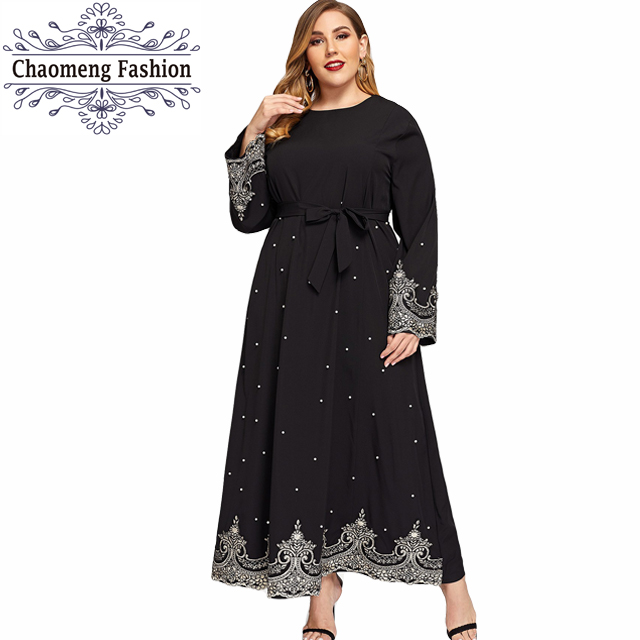 6071# pearls party long sleeves plus size maxi lace islamic clothing modest abaya muslim dresses, Black / customized colors