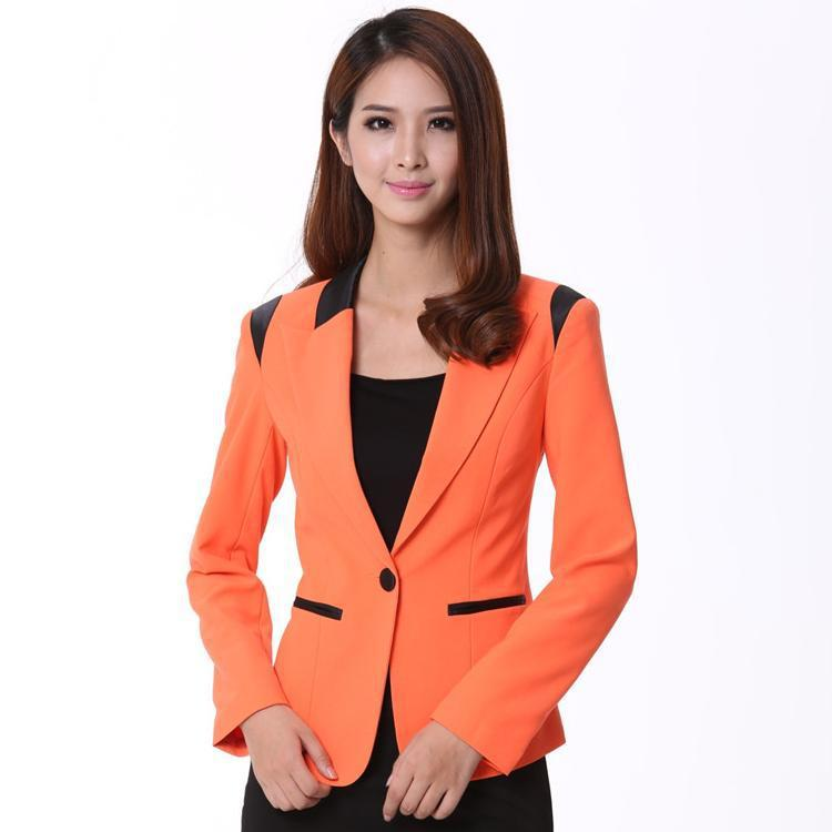 efc710a73f Get Quotations · New 2015 Spring and Autumn Formal Ladies Orange Blazer  Women Blazers and Jackets Office Uniform Style