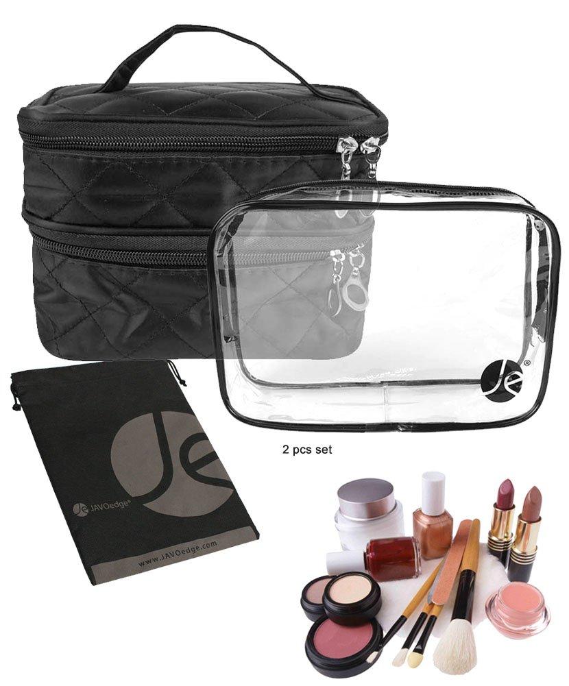 JAVOedge Quilted Double Layer ZipperTravel Storage Cosmetic, Makeup Organizer Bag W/Bonus Clear Transparent Zipper Bag