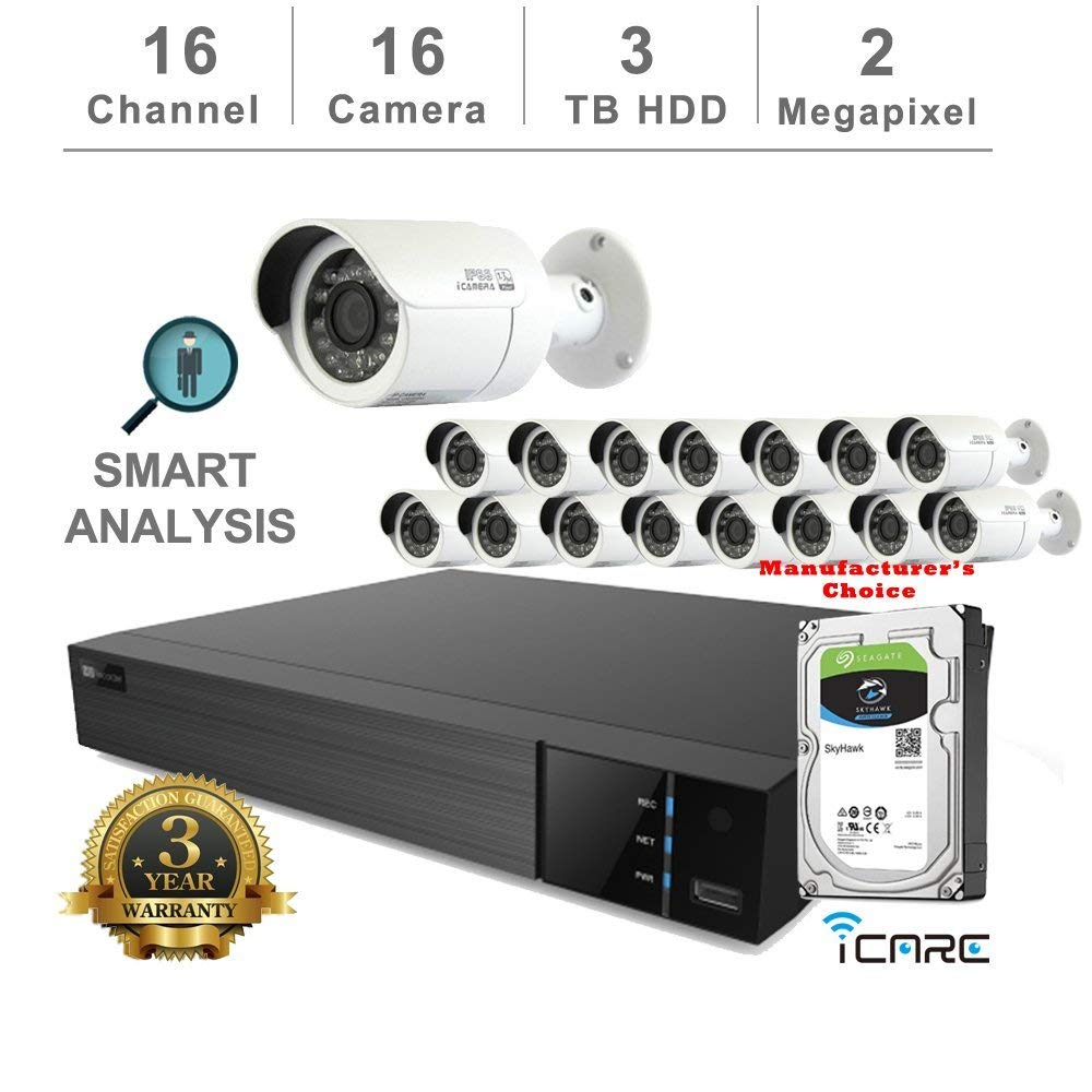iCare-DVR Smart Analysis DVR Security Kits: 16CH 5 in 1 DVR w/3TB Security HDD+ (16) 2MP Outdoor IR White Bullet (3 Years Warranty; Local US Support)