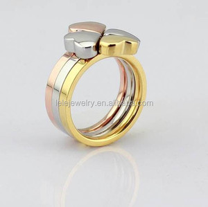 IHigh quality fashion design hot sale heart tricolor ring