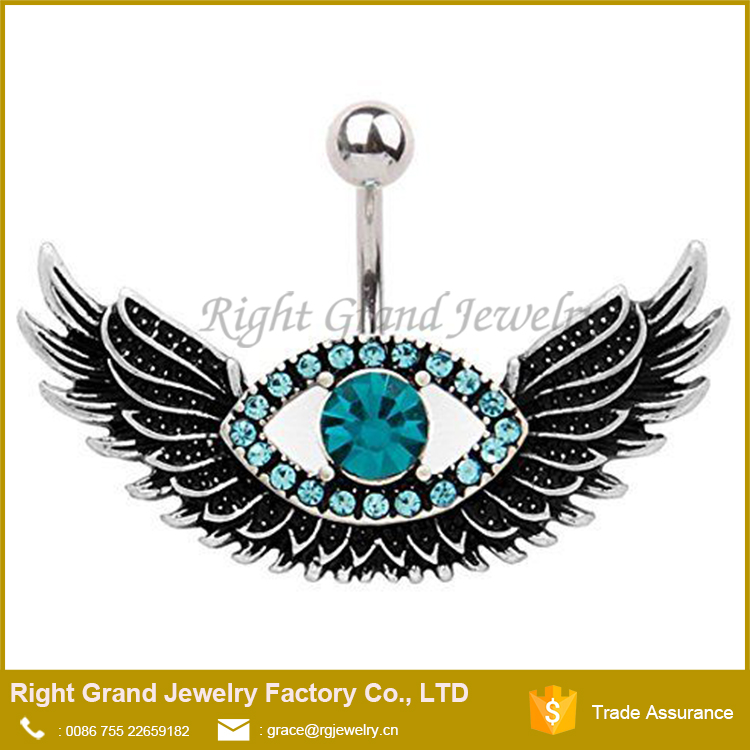 Evil Eye Angle Wings Aquamarine Crystal Belly Button Ring
