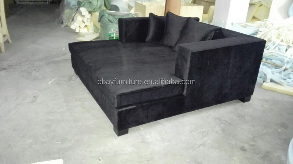 Noruega muebles marco de madera negro de terciopelo antiguo chaise ...