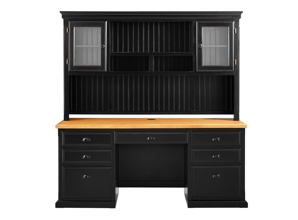 "Kathy Ireland Southampton Onyx Desk w/Hutch - 69""W Medium Oak /Black Onyx Dimensions: 69""W x 25""D x 73""H Weight: 486 Lbs"